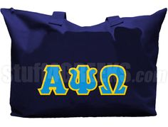 Moonlight blue Alpha Psi Omega tote bag with Greek letters across the front.