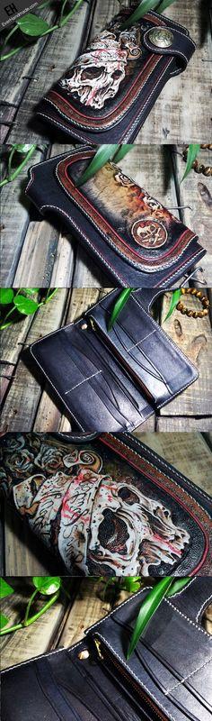 Handmade leather Biker trucker chain long skull wallet leather men Black Carved Tooled wallet