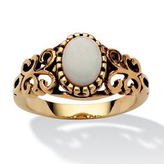 3/4-Carat Oval-Cut Genuine Opal 14k Yellow Gold-Plated Antique-Finish Classic Filigree Ring at PalmBeach