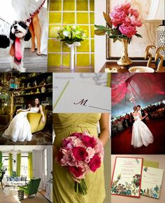 Love the bridesmaid bouquet Raspberry-Chartreuse-Wedding-Inspiration-Board
