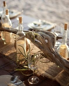 Image detail for -Driftwood with Burlap Table Runner and Glass Bottles