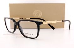 b26059c71004 Brand New VERSACE Eyeglasses Frames 3209 GB1 BLACK Men 100% Authentic SZ 55