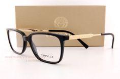 9df96141c3 Brand New VERSACE Eyeglasses Frames 3209 GB1 BLACK Men 100% Authentic SZ 55