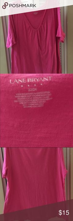Lane Bryant - 22/24 Relaxed fit pink cotton v-neck Lane Bryant - 22/24 Plus Size Pink cotton V-neck, relaxed fit and very comfortable! I bought two but only ever wear the purple one. This has only been worn twice. Make me an offer or bundle and save!! 🤑 Lane Bryant Tops Tees - Short Sleeve