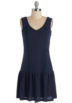 When I Skip, You Skip, We Skip Dress - Blue, Solid, Trim, Casual, Drop Waist, Tank top (2 thick straps), Better, V Neck, Short, Knit