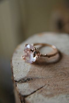 Rose-gold floral-and-twig band with rose quartz