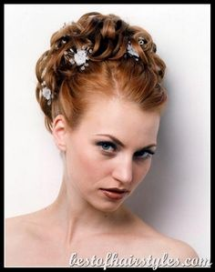 Wedding Updo Hairstyles for Medium Length Hair, Wedding Hairstyles . Vintage Wedding Hair, Wedding Hair Clips, Short Wedding Hair, Wedding Hair Flowers, Wedding Updo, Flower Hair, Trendy Wedding, Prom Updo, Bridal Flowers