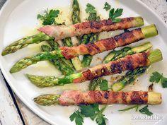 Baconbe tekert spárga - Receptek | Ízes Élet - Gasztronómia a mindennapokra Asparagus, Bacon, Grilling, Food Porn, Dishes, Vegetables, Studs, Crickets, Tablewares