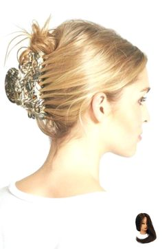 Women's France Luxe 'Large Elysee' Jaw Clip – Beige - New Site Banana Clip Hairstyles, Up Hairstyles, Simple Hairstyles, Ely, Pulled Back Hairstyles, Hair Pulled Back, Beautiful Hair Color, Beautiful Things, Cut Her Hair