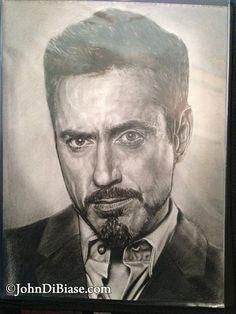 Original Drawing of Robert Downey Jr. as Tony Stark from Iron Man (NOT a print)