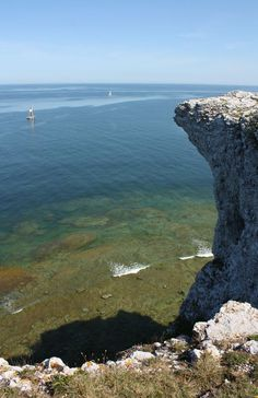 View down the cliffs at Högklint, Gotland