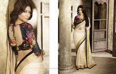 This mixed cotton cream-coloured saree is absolutely gorgeous! The elegant pallu is solid cream with a thick gold border alongside a thin black border giving a Indian Sarees, Indian Wear, Absolutely Gorgeous, Asian Fashion, Desi, Fairy, Elegant, Formal Dresses, Blouse