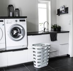 Washer and dryer on a small cabinet for laundry detergent and the like. - Washer and dryer on a small cabinet for laundry detergent and the like. Washing Machine, Small Laundry Rooms, Laundry Mud Room, Laundry Detergent, Washer And Dryer, Small Cabinet, Small Closet, Laundry, Living Room Designs