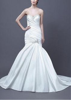 ELEGANT SATIN MERMAID BEADED STRAPLESS SWEEHEART NECKLINE DROP WAIST PLEATED BRIDAL DRESS LACE FORMAL PROM