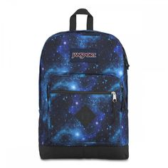 JanSport City Scout Backpack Galaxy is a large capacity backpack with one main compartment, 15 inch laptop sleeve, padded shoulder straps, and front organizational pocket. Classic backpack shape with contrast bottom. Galaxy Backpack, Handbags For School, Jansport Backpack, School Backpacks, Shoulder Straps, Laptop Sleeves, Straight Cut, School Supplies, Fabric