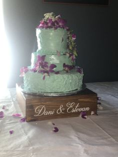 Personalized Rustic wedding cake stand 14 x 14 by TheGrayDazey