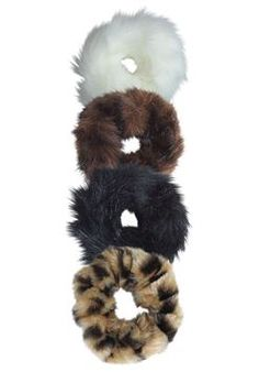 Faux Fur Hair Scrunchies - Set of 4
