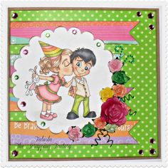 "Redonkadoodles.com - ""Birthday Kisses"" Digital Stamp - Handmade Card Design By: Fabiola"