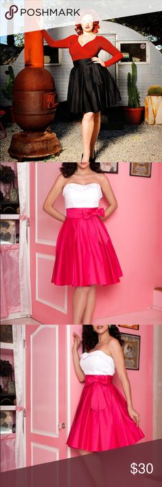 Pinup Couture Audrey Skirt in Black Knee length great quality sateen pleated skirt with bow at waist. Just like the pink in the photos but black. Worn twice. No stains or tears, like new. Pinup Couture Skirts Circle & Skater