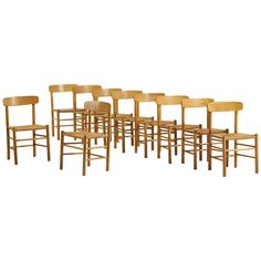 Set of Ten Dining Chairs Attributed to Borge Mogensen | From a unique collection of antique and modern dining room chairs at https://www.1stdibs.com/furniture/seating/dining-room-chairs/