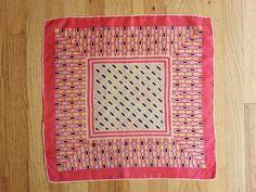 Vintage 1950s Silk Lightweight Scarf Geometric Motif Pink Yellow and Black