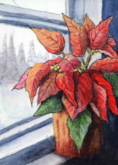 ACEO WONDERS2019 Original Painting Poinsettias In Window Christmas floral red #Impressionism