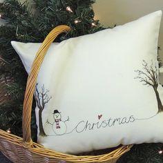 christmas snowman cushion by designer j   notonthehighstreet.com