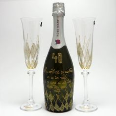 Hand painted champagne and cristal Glasses. Flute, Champagne, Hand Painted, Tableware, Handmade, Glasses, Eyewear, Dinnerware, Hand Made