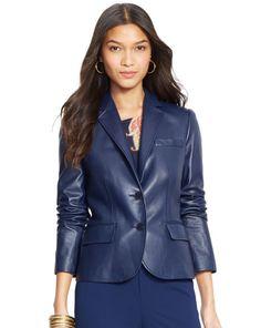Leatherexotica Womens Three Button Designer Style Women Leather Tailored Blazer