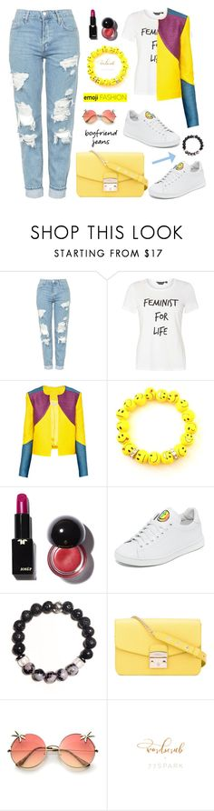 """""""Borrowed from the Boys: Boyfriend Jeans"""" by samra-bv ❤ liked on Polyvore featuring Topshop, Dorothy Perkins, Christina Economou, Joshua's, Furla, boyfriendjeans, contestentry, polyvoreset and shopjewelry"""