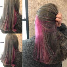 Pink Hair Streaks, Pink Hair Dye, Dye My Hair, Blue Hair, Brown Hair, Under Hair Color, Hidden Hair Color, Cool Hair Color, Hair Dyed Underneath