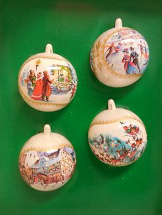 Set of 4 Colorful, Unbreakable Christmas Ball Ornaments in Original Box - pinned by pin4etsy.com