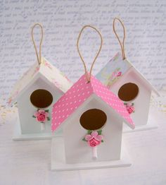 Summer florals miniature wood birdhouse decorations wedding / party table decor pink white blue set of 3