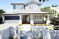 The HAMPTONS have never looked so good // A contemporary take on a classic design, the clean lines of our Hamptons facade compliments an… House Design, House, House Front, House Inspo, House Exterior, Hamptons House, Beach House Exterior, Weatherboard House, House Paint Exterior