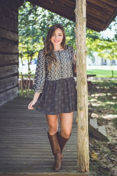 This dress is one of our favorite *NEW ARRIVALS* from today! So cute! Pair it with some boots for an adorable fall look!