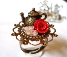 English Garden Tea Ring Alice Wonderland Pot Kettle Miniature Strawberry Macron Raspberry Berry Bubble