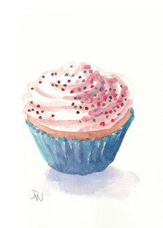 Cupcake Watercolor Painting - Food Illustration, Original Art, 5x7