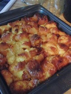 Bread pudding made from leftover glazed donuts...an easy, quick and delicious dessert!