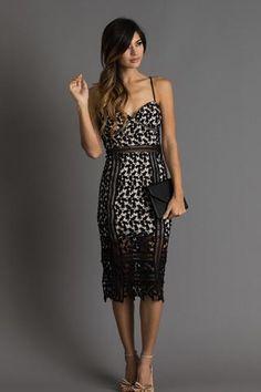 Hannah Black Lace Midi Dress