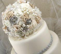 brooch bouquet cake topper