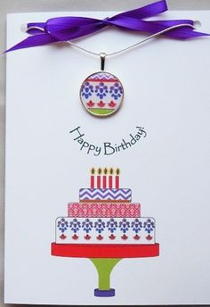 What a creative birthday gift for any age!  Explore all our Birthday cards with matching necklaces.  Each card has a meaningful positive message. Happy Birthday Greeting Card, Birthday Wishes, Birthday Cards, Creative Birthday Gifts, Stampin Up Cards, Cardmaking, Gift Wrapping, Diy Crafts, Matching Necklaces