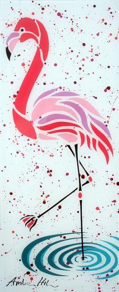 "Acrylic on Plexi-Glass 10"" x 24"" Original Painting of Flamingo ""Splendid Paradise"" by hilda"