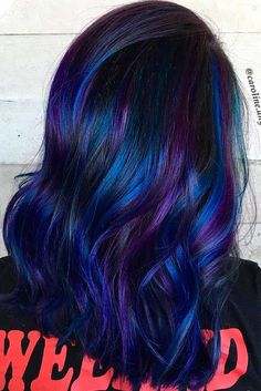 Fabulous Purple and Blue Hair Styles Hair Hair color purple and blue ombre hair - Ombre Hair Dark Purple Hair Color, Blue Ombre Hair, Hair Color For Black Hair, Cool Hair Color, Color Black, Purple Colors, Galaxy Hair Color, Pastel Hair, Dark Blue Hair