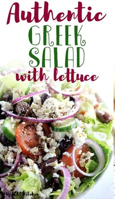 This healthy greek salad recipe comes with a homemade greek salad dressing recipe. It's easy to make and is served over lettuce. It's the best low carb and keto salad you'll want to make for lunch or dinner! salad Authentic Greek Salad - My PCOS Kitchen Spinach Salad Recipes, Greek Salad Recipes, Salad Dressing Recipes, Lettuce Salad Recipes, Easy Salads, Healthy Salads, Healthy Eating, Keto Recipes, Cooking Recipes