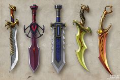 "Roman Guro's LiveJournal - Concept art: 80 weapons concepts for the ""Sun"". Cosplay Weapons, Anime Weapons, Fantasy Weapons, Cool Swords, Sword Design, Object Drawing, Medieval Weapons, Weapon Concept Art, Swords And Daggers"