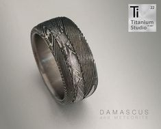 Titanium base ring with Damascus steel sleeve and Meteorite inlay Damascus Ring, Damascus Steel, Meteorite Ring, Titanium Rings, Rustic Jewelry, Jewelry Collection, Wedding Bands, Rings For Men, Base