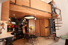 Tiny house silo, spiral staircase space saver