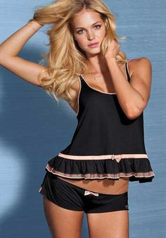 Dress to frill with this Ruffle Tank PJ Set from Victoria's Secret. Layers of racy ruffles and chiffon mix with oh-so-soft modal and tiny bows to sweeten this playful pajama. From our Sexy Little Things lingerie collection. Erin Heatherton, Pretty Lingerie, Beautiful Lingerie, Sexy Lingerie, Cute Pjs, Cute Pajamas, Lingerie Sleepwear, Nightwear, Sexy Pyjamas