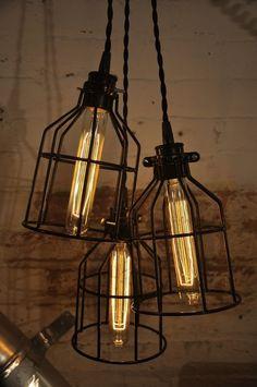 Kitchen, back door light? -- Black Metal Bulb Guard Chandelier Light Cage Pendant Hanging Industrial Retro