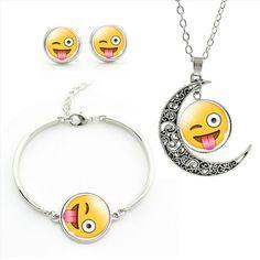 Moon Pendant Necklace Earrings Bracelet SET